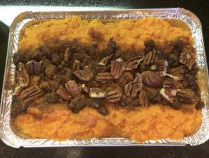 Mashed Sweet Potatoes with Pecans, Dates and some Brown Sugar