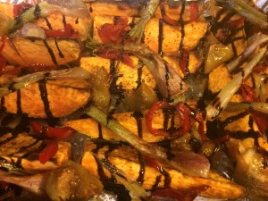Sweet Potatoes with Cherry peppers, Figs, Green Onions and Balsamic Drizzle